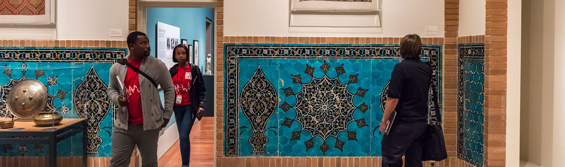 Mosaics and woven textiles capture the attention of guests wandering in the Safavid Court. Photo courtesy of Philadelphia Museum of Art.